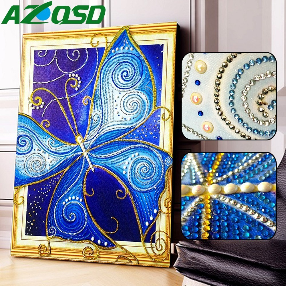 AZQSD Diamond Painting Butterfly Animal Special Shaped DIY Mosaic Home Decor Partial Round Drill Gift