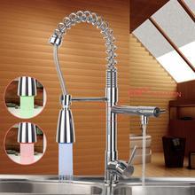 Современные Кухня LED кран Pull Пух поворотный 360 Носик Chrome сосуд Раковина torneira Cozinha бортике смесители