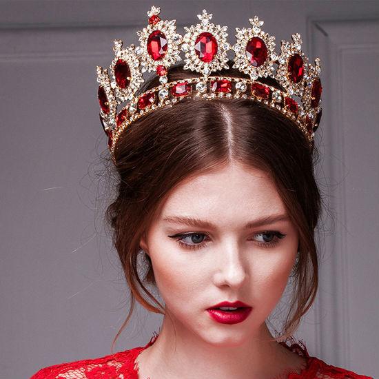 big European royal crown golden rhinestone imitation ruby tiara super large quinceanera crown wedding hair accessories crown (5)