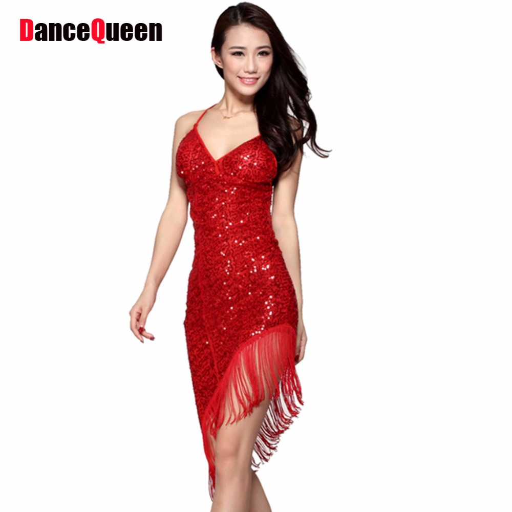 2017 Sexy Latin Dance Dress Women Girls Polyester Salsa Samba ...