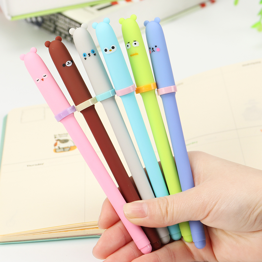 3PCS Kawaii Cartoon Animal Expression Gel Pen 6 Color Writing Neutral Pen Signing Pen Office Material School Supplies