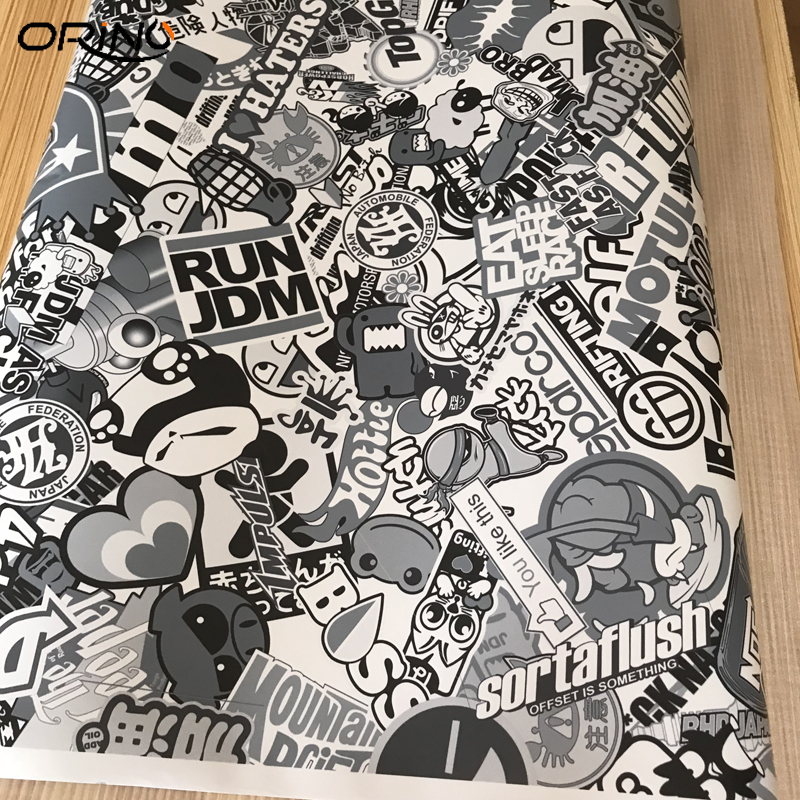 Black White Sticker Bomb Film Vinyl-2