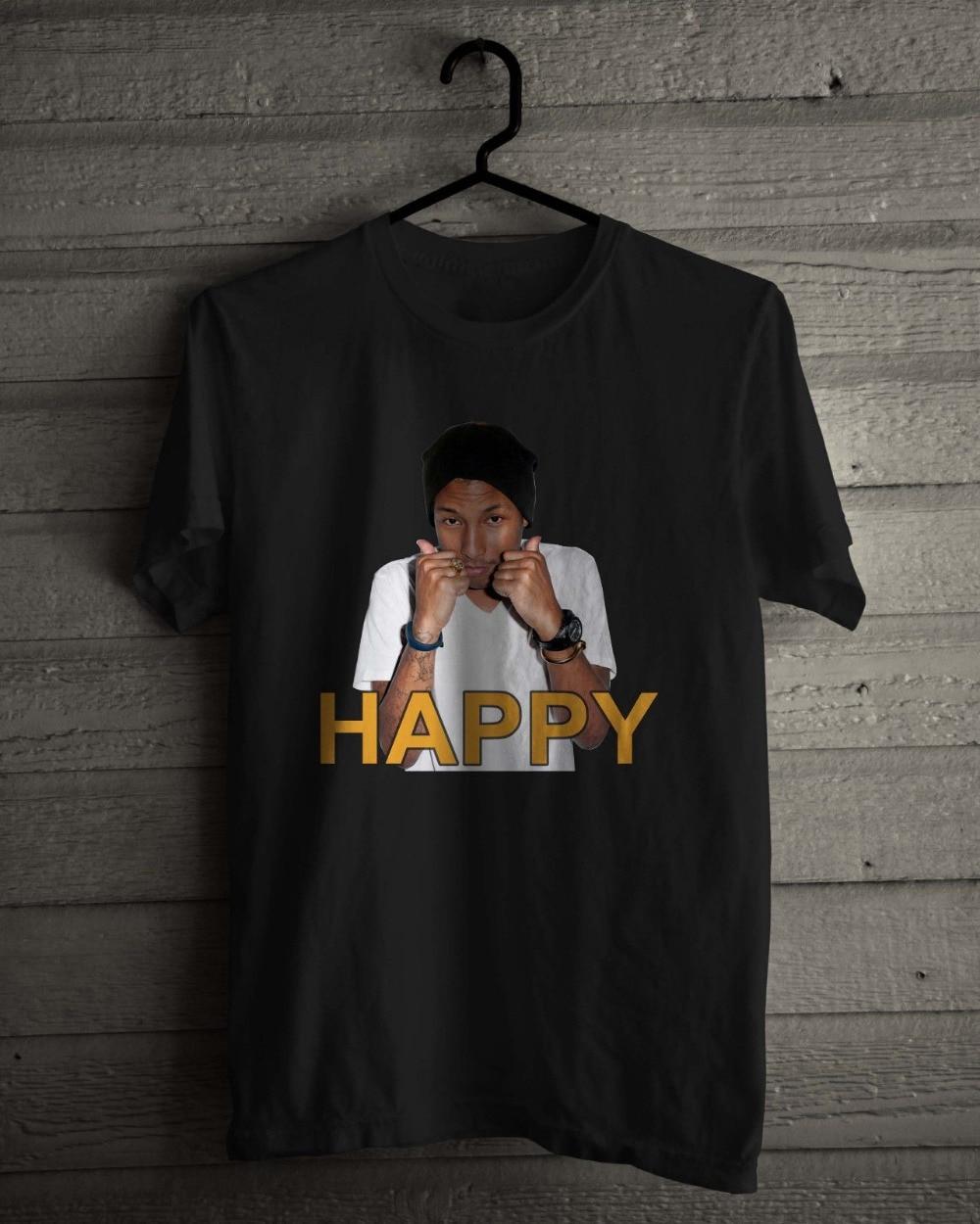 5e9cea8074 Black Style Men'S Fashion Crew Neck Pharrell William, American Singer  Rapper, Happy Black And. US $11.03. T Shirt ...