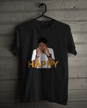Black Style  MenS Fashion Crew Neck Pharrell William, American Singer Rapper, Happy And White Short-Sleeve T Shirts