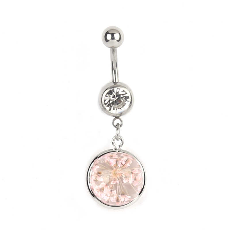 Круглые Кольца для пупка, хирургические сексуальные украшения для тела для женщин, Кристальное стекло, кулон с высушенным цветком, пупок