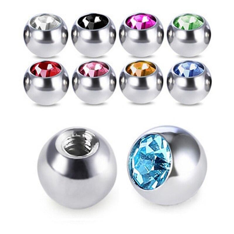 10 pçs cor mix 5mm bolas de aço inoxidável piercing umbigo diy sobrancelha língua umbigo da barriga anel jóias do corpo piercing acessórios