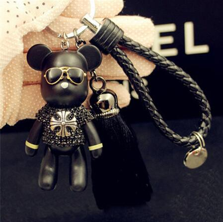 10pcs lot Handmade Leather Strap Tassel Bomgom Bear Keychain Crystal Popobe Gloomy Bear Key Ring Car