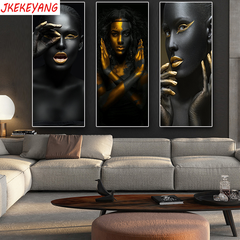 3pcs 5D DIY Diamond Painting Handicraft Cross Stitch Black African Art Woman Full Square Diamond Embroidery home Decor Y3226
