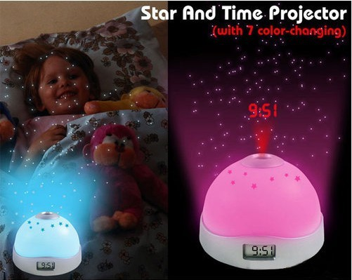 DHL /fedex free shipping Color-Change LED Star Night Light Magic Projection Projector Alarm Table Clock