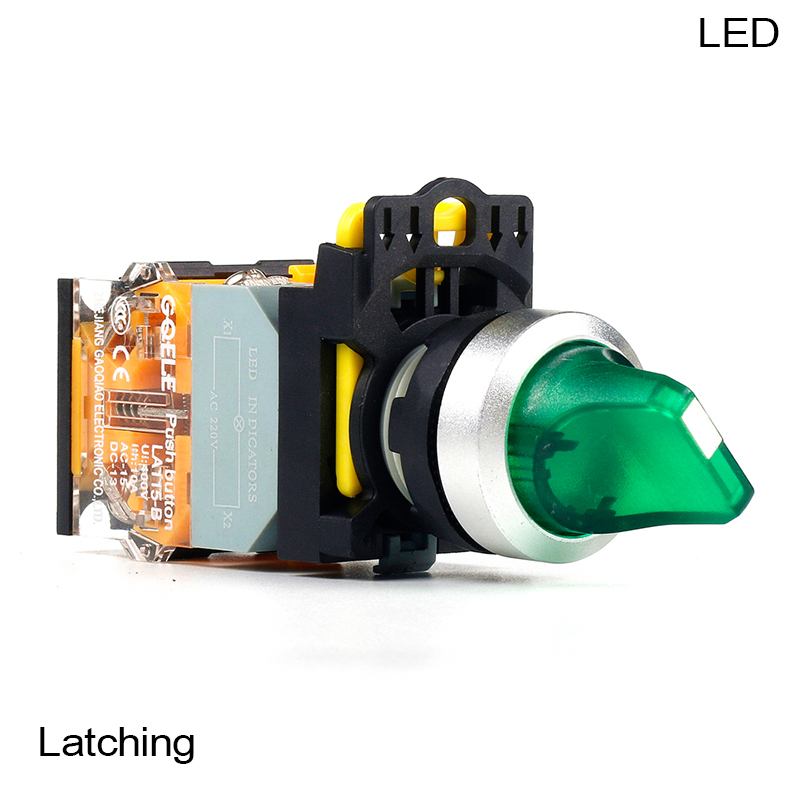 5 PCS Push button switch Selector switch Short handle 3-Position LED Latching Waterproof IP65  LA115-B2-11XD-G31 la38 20xb 3 position selection push button switch long handle latching switch ac220v dc24v