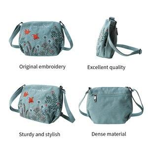 Image 4 - Çiçek prenses kadın Crossbody çanta yaz tuval nakış kızlar omuz çantaları kadın rahat çanta küçük çanta moda çanta