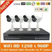 4CH Full HD 1080P H 264 NVR 4Pcs Outdoor Waterproof WiFi Wireless 1280 960P Security Surveillance