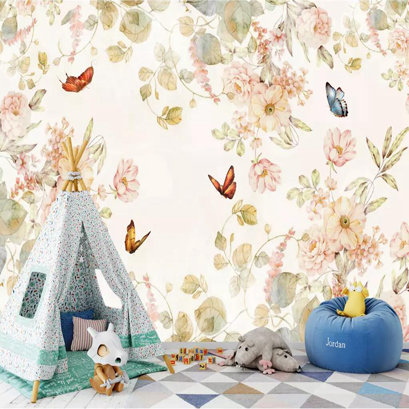 Custom 3D Mural Wallpaper Non-woven Children Room Wall Covering Wall Paper 3d Stereo Butterfly 3D kid Photo Wallpaper Home Decor free shipping cartoon art wall clock stickers 3d mute stereo digital color wall clock personality wallpaper mural szt 40