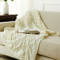 Knitted White Throw Blankets, Bed Blanket by 100% cotton (Warm/Cozy/Fluffy), Lightweight and Easy Care, Couch Blanket 127*152cm