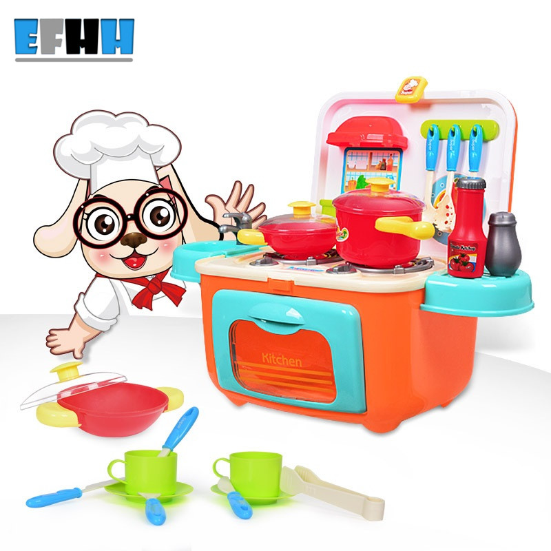 EFHH Children Plastic Simulation Kitchen Toy Set Plastic Food Toy Play Food Kit Kat Storage Box Set with Sounding Flashing simulation mini golf course display toy set with golf club ball flag