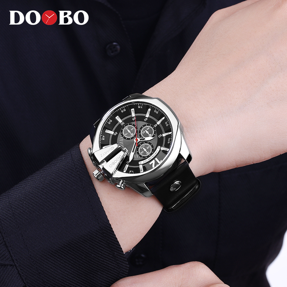 DOOBO Men Watches Top Brand Luxury Gold Male Watch Fashion Leather Strap Casual sport Wristwatch With DOOBO Men Watches Top Brand Luxury Gold Male Watch Fashion Leather Strap Casual sport Wristwatch With Big Dial Drop Shipping