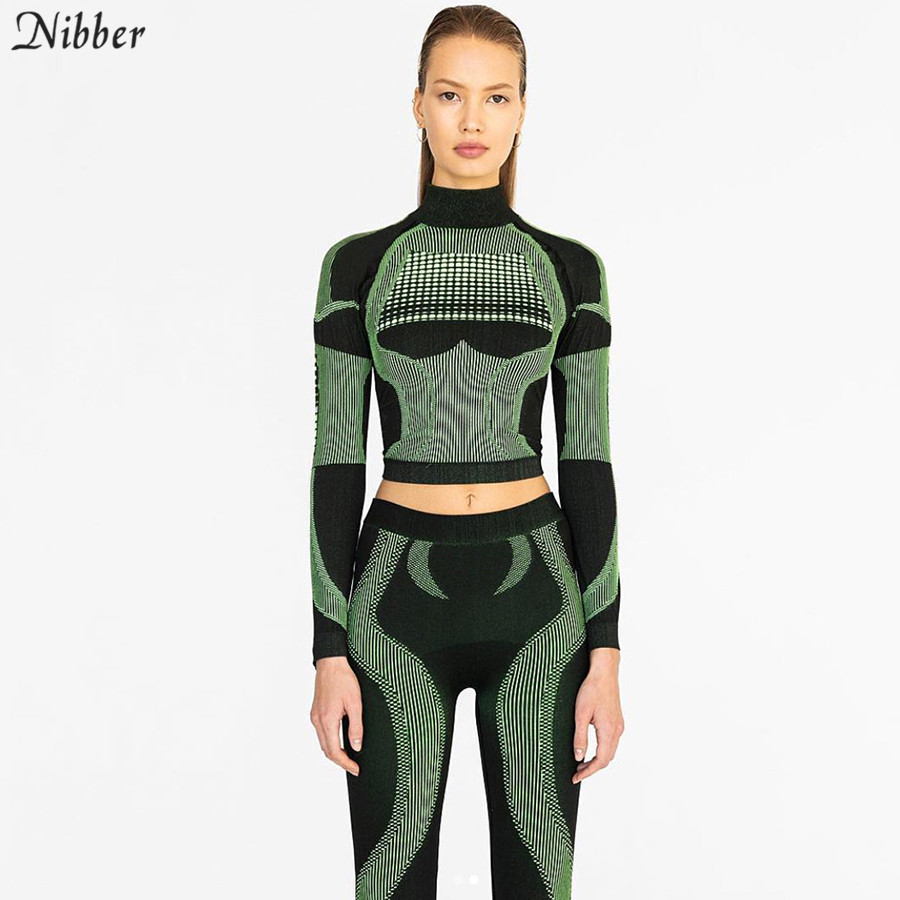 Nibber women fashion fitness sporting 2019 new blue green Active Wear lady elastic high waist   leggings   3D print striped outfits