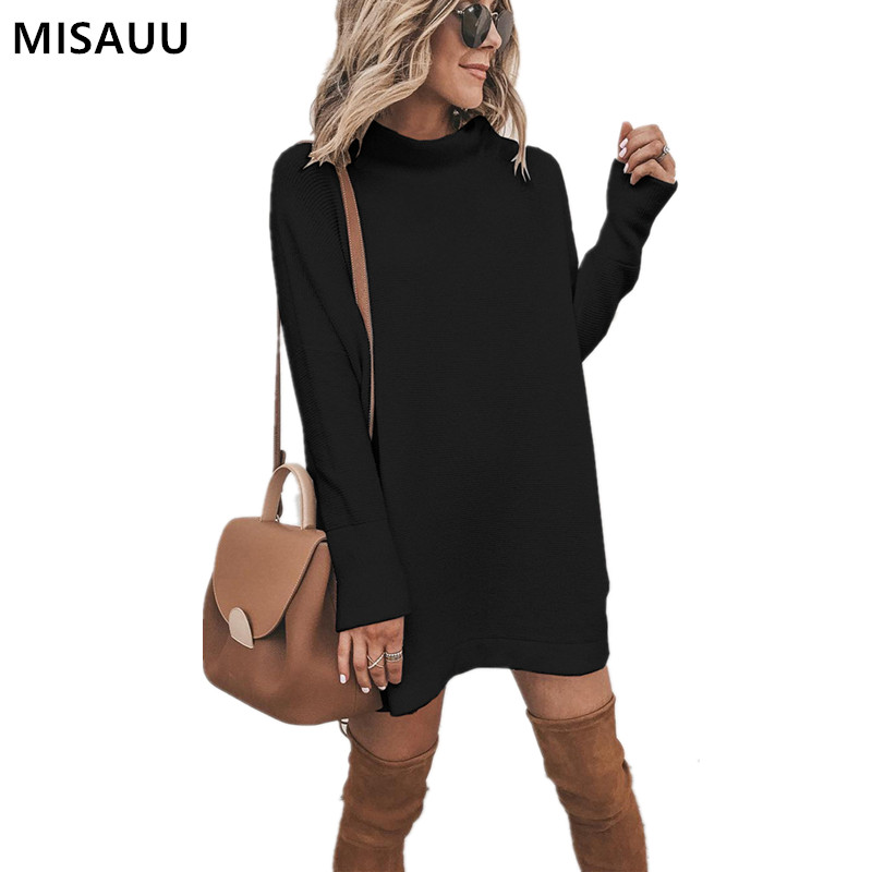 MISAUU Sexy Solid Black Winter Dress Women Long Sleeve Loose Mini Elegant Autumn Turtleneck Female Short Party Club