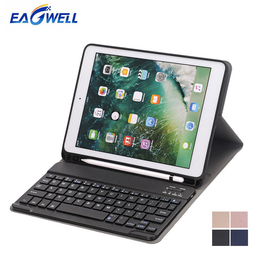 Eagwell Wireless Bluetooth Keyboard PU Leather Case for iPad Pro 10.5 inch Tablet Protective Case Stand Cover with Keyboard detachable official removable original metal keyboard station stand case cover