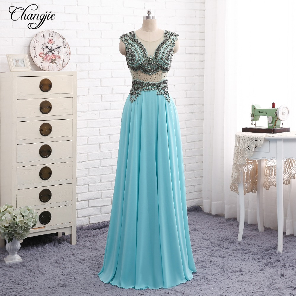 New Fashion Long   Prom     Dresses   2018 Scoop Neck Sleeveless A-Line Floor Length Beaded Chiffon Evening   Dresses   Vestido de festa