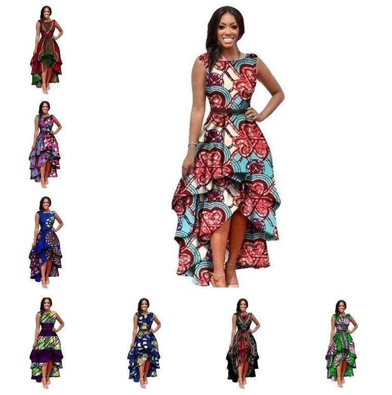 Купить с кэшбэком African Dresses Polyester Traditional African Clothing Time-limited Real 2019 Large Swing Waist Sleeveless Dress Women Printing