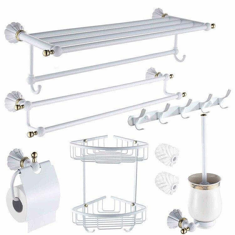 European White Paint Bathroom Hardware Accessories Towel Rack Set 6 Lt 2500 Shelf Holder Toilet Brush In Bath Sets From Home