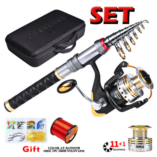 1set Fishing Rod+Reel Combo Full Kit Telescopic Rod Spinning Wheel with Line Hooks Bait Jigs Swivels Storage Bag Fishing Tackle