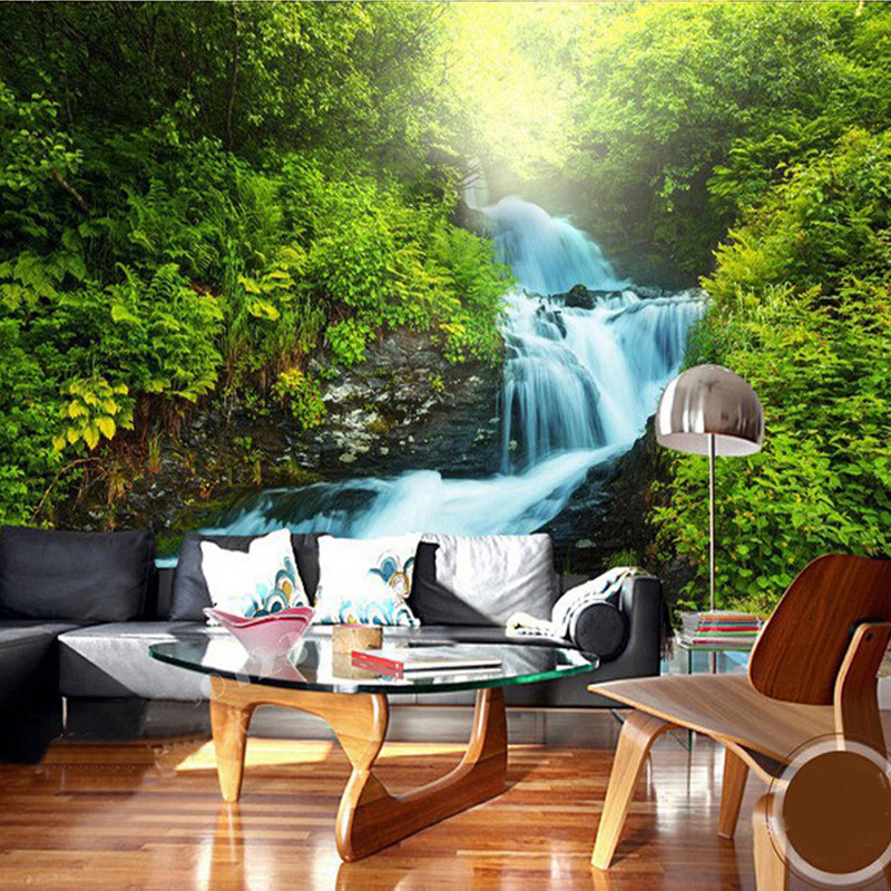Custom Any Size 3D Wall Murals Wallpaper Forest Waterfall Landscape