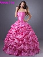 Ярко розовый бальное платье Бальные платья 2019 Милая Винтаж тафта девушки Формальные принцесса провечерние м кутюр индивидуальный заказ