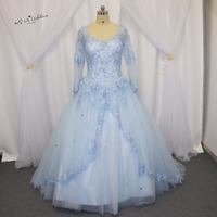 Plus Size Blue Coral Tulle Long Sleeve Cheap Quinceanera Dresses 2017 Vestido De 15 Anos Beads