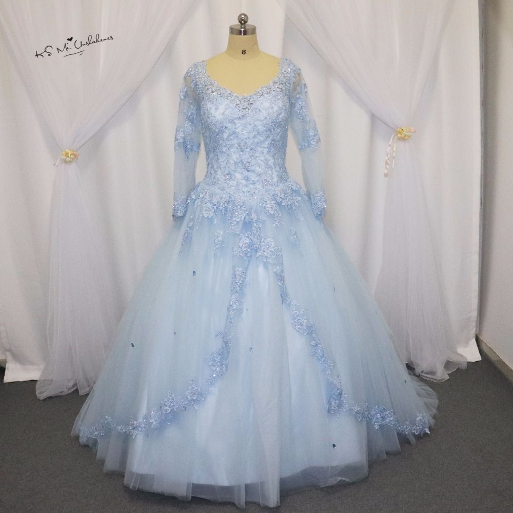 Plus Size Blue Coral Tulle Long Sleeve Cheap Quinceanera Dresses 2017 Vestido de 15 anos Beads Corset Back Sweet 16 Ball Gowns