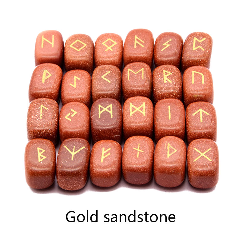 Image 4 - 25pcs Natural stone carving Viking Runes Amulet Set Reiki Runic  alphabets Healing Crystals quartz Divination Stones jewelryPendants