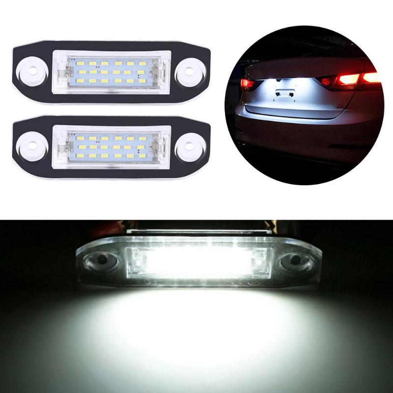 2pcs 18LED License Number Plate Light Lamps Car Super Bright Turn Side License Plate Light Lamp for Volvo S80/XC70/S40/XC60/S60
