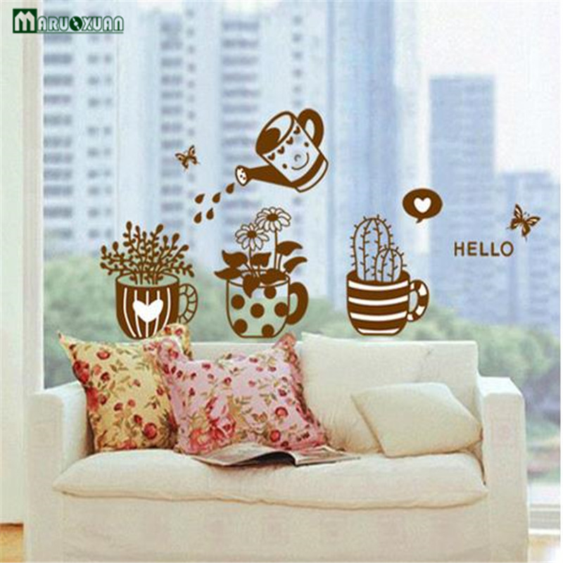 Kitchen Dining Room Bedroom Dormitory Window Glass Decorative Cute Solid Plant Potted Wall Stickers Removable