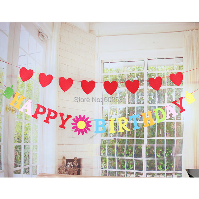 Large Non Woven Combination Of Letters Hy Birthday Banner Children Diy Decoration Wedding Decorations