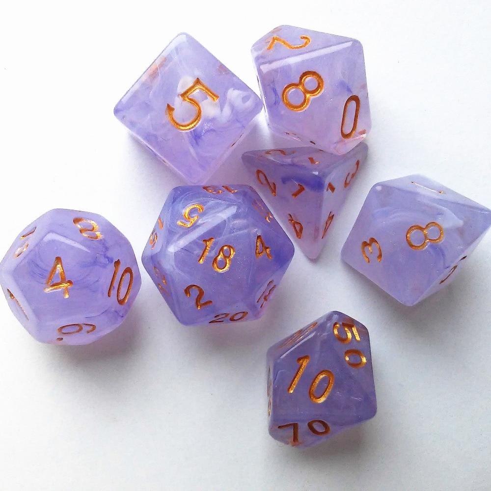 7pcs/lot 8 Colors Multifaceted Dice D&d D4 D6 D8 D10 D% D12 D20 Polyhedral TRPG Games Dice Set