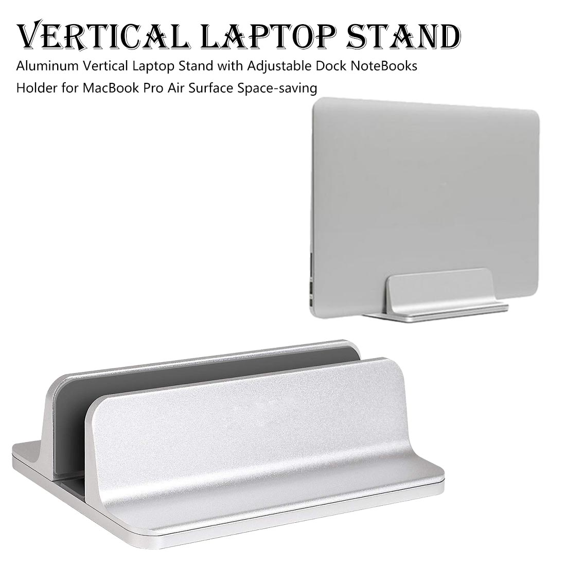 Aluminum Vertical <font><b>Notebook</b></font> Vertical <font><b>Cooling</b></font> Storage <font><b>Stand</b></font> Adjustable Base Size for Macbook Air Pro 13 15 image