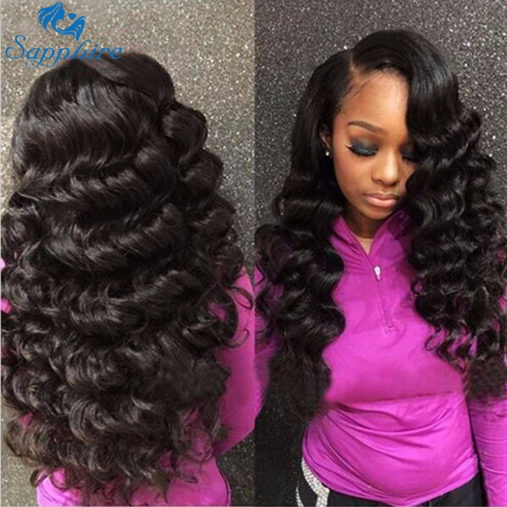 Sapphire Hair Malaysian Loose Deep Wave Bundles With Frontal Closure Human Hair Extension Loose Wave Curly