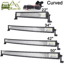 цена на 22 42 50 Inch Tri-Row Curved LED Light Bar Offroad Work Lights Combo Beam SUV ATV 4x4 4WD UTV RZV Trailer Driving Barra Lamp