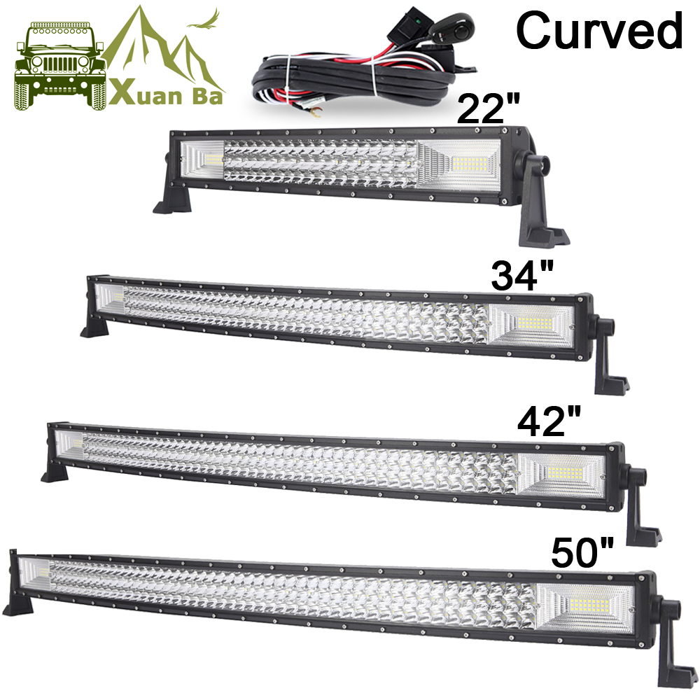 22 42 50 Inch Tri-Row Curved LED Light Bar Offroad Work Lights Combo Beam SUV ATV 4x4 4W ...