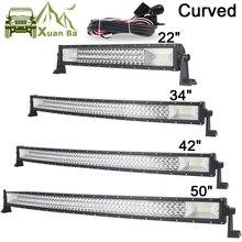 """22 """"42"""" 50 inç tri row kavisli LED ışık Bar Offroad çalışma işıkları Combo ışın SUV ATV 4x4 4WD UTV RZV römork sürüş Barra lamba"""