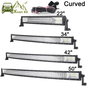 """Image 1 - Barra de luces LED curvada de 22 """", 42"""" y 50 pulgadas, Barra de luces de trabajo fuera de carretera, Combo de haz, SUV, ATV, 4x4, 4WD, UTV, RZV, lámpara de Barra de conducción de remolque"""