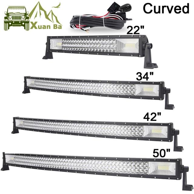 """Barra de luces LED curvada de 22 """", 42"""" y 50 pulgadas, Barra de luces de trabajo fuera de carretera, Combo de haz, SUV, ATV, 4x4, 4WD, UTV, RZV, lámpara de Barra de conducción de remolque"""