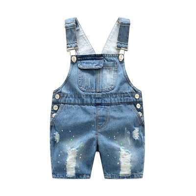 2020 summer children pants Overalls Korean Distrressed Worn Holes Straps Jeans Girl boy baby shorts pants kids clothes clothing 1