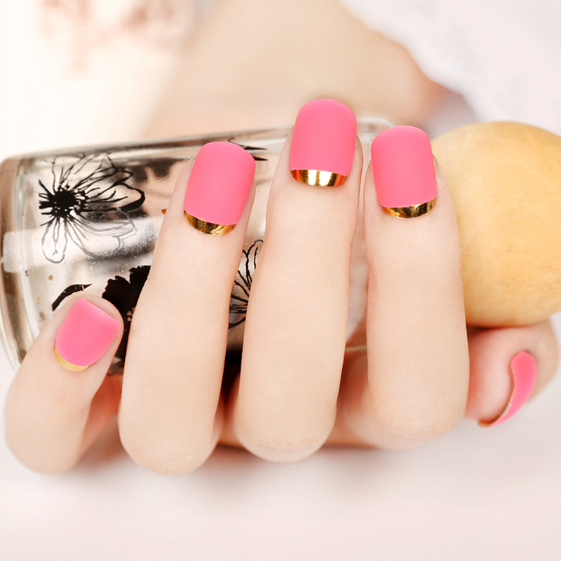 New Lady nails Rose Red Matte Fake Nails Metallic Gold French False ...