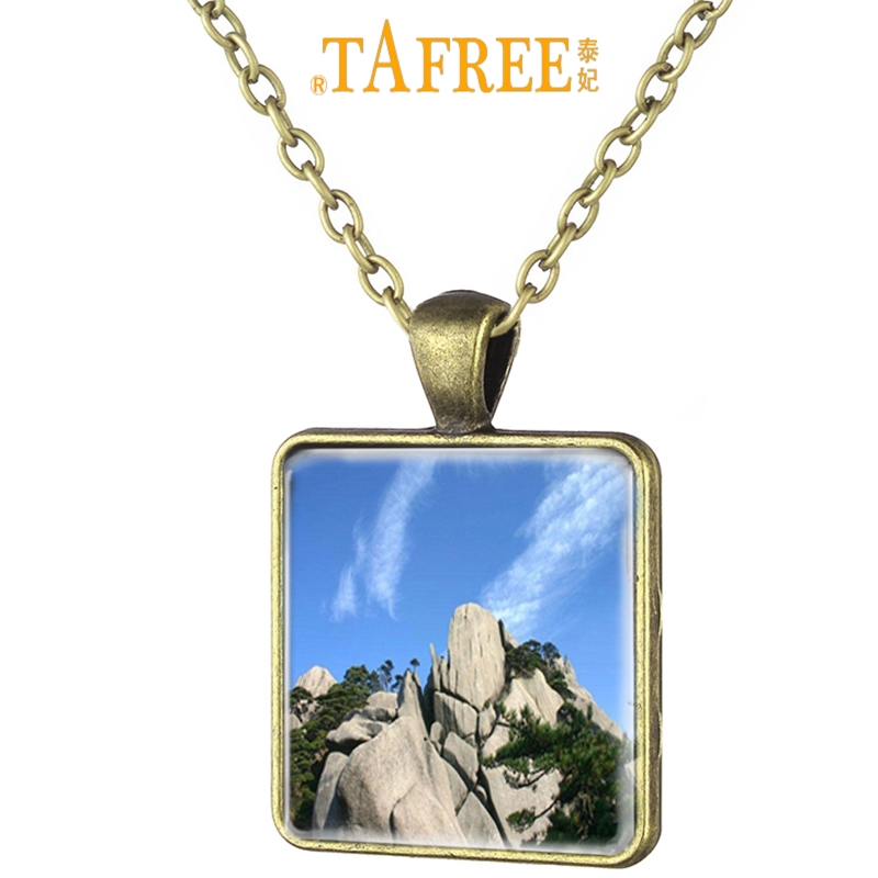 TAFREE Chinese Beautiful Scenery Mount Huangshan Art Picture Square Necklace Antique Bronze Plated Glass Cabochon Jewelry <font><b>HS64</b></font> image