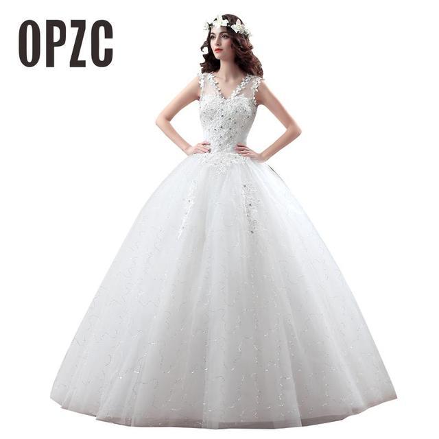 2016 New Arrive Korean Summer Fashionable Cheap Wedding Dress Crystal Plus  Size Bridal Gowns Lace Up Dresses vestido de noiva 5e5e8449fe60