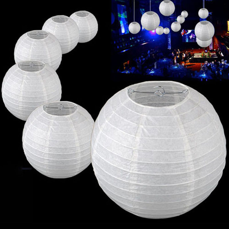 10pcs 14inch 35cm White Round Paper Ball Lanterns Lamp Lampion Wedding Party Birthday Decoration Chinese Lantern In From Home Garden