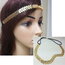 1 шт. мода блестящие металлические луна форма Эластичный держатель золотой цвет цепь волос аксессуары для волос