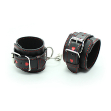 PU Leather Sexy Handcuffs Black Hollow LOVE Restraints Foot Cuffs Bdsm Sex Toys for Couples Bondage Erotic Womens Lingerie
